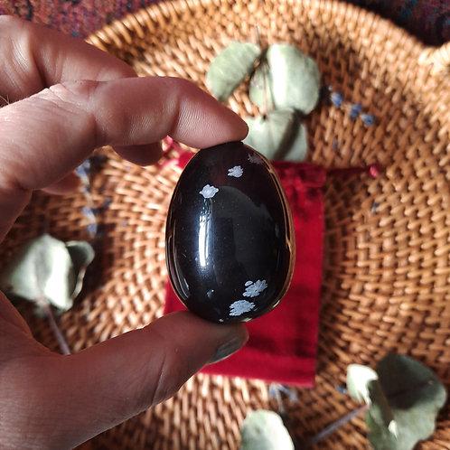 Snowflake Obsidian Yoni Egg (Lrg undrilled)