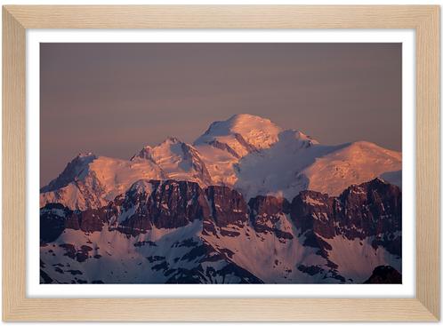 Cadre en bois - Coucher de soleil sur le Mont Blanc
