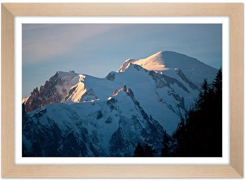 Cadre en bois - Mont Blanc aux aurores