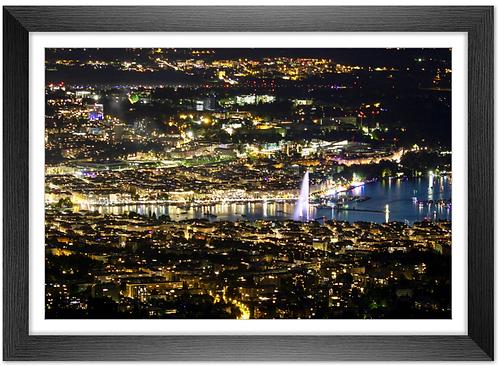 Cadre en bois - Genève de nuit