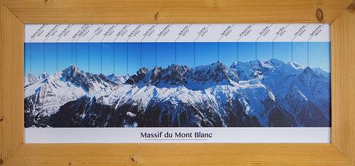 Cadre bois brossé 75x30cm - Panoramique du Mont-Blanc
