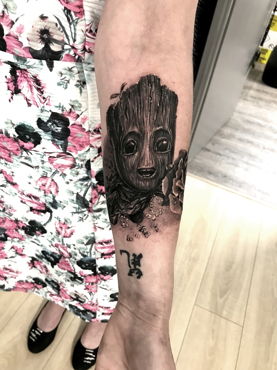 tattoo groot black corner tattoo