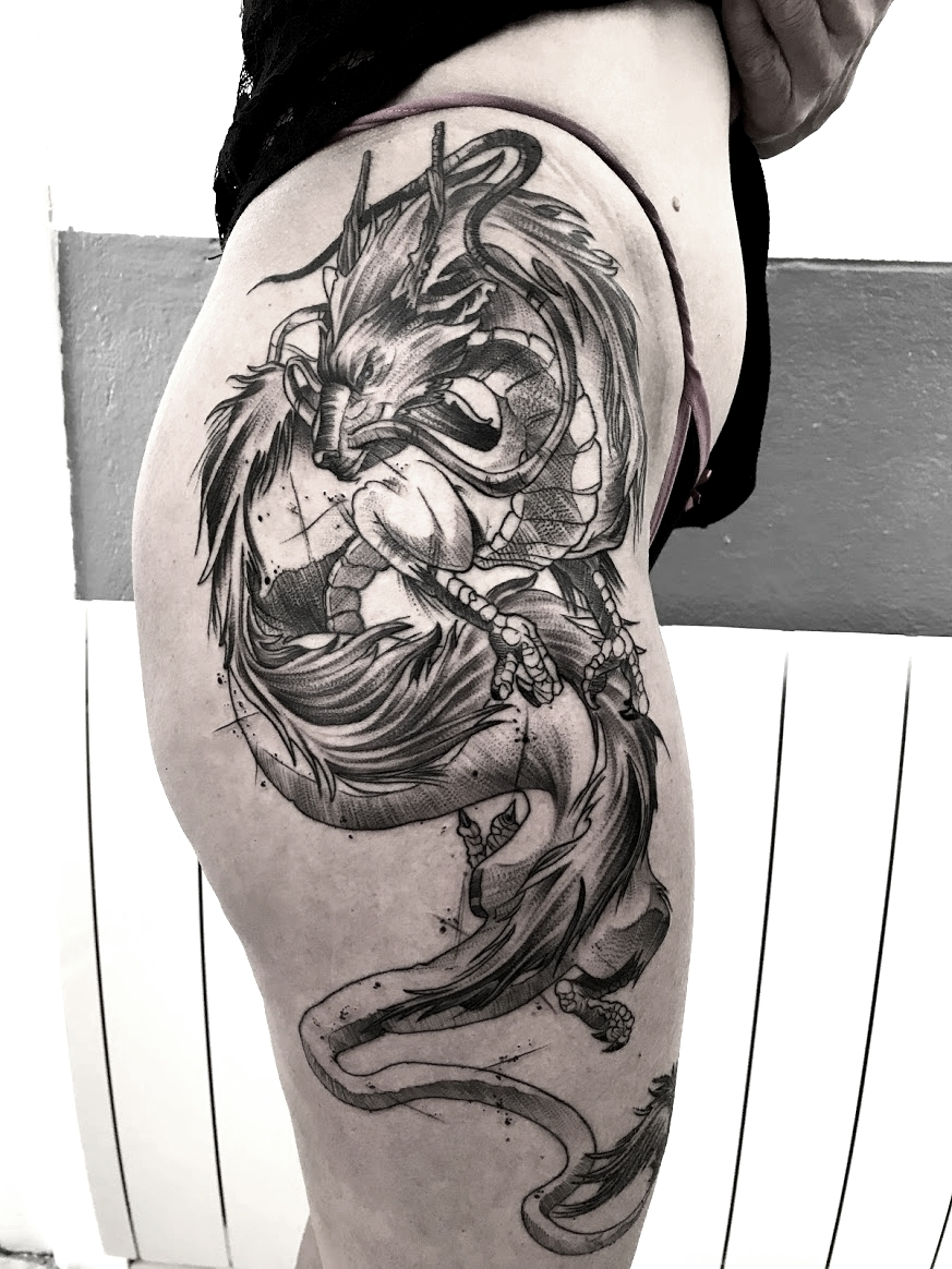tattoo dragon black corner tattoo
