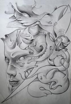 sketch visage black corner tattoo