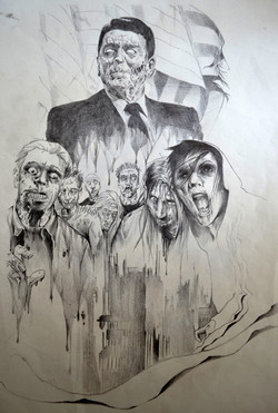 sketch zombie black corner tattoo