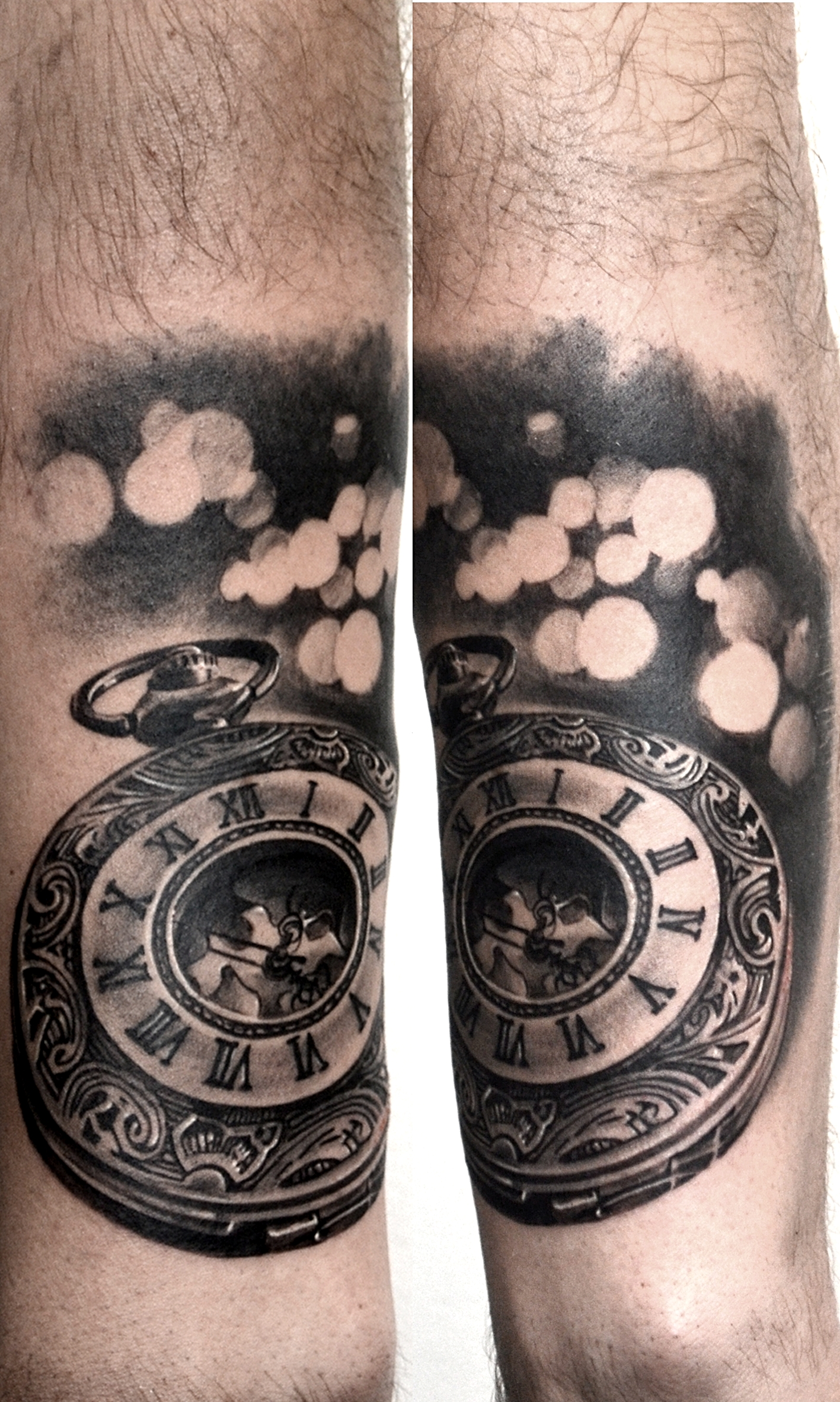 tattoo pocket watch black corner