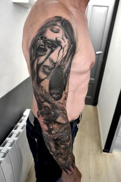 tattoo face black corner tattoo