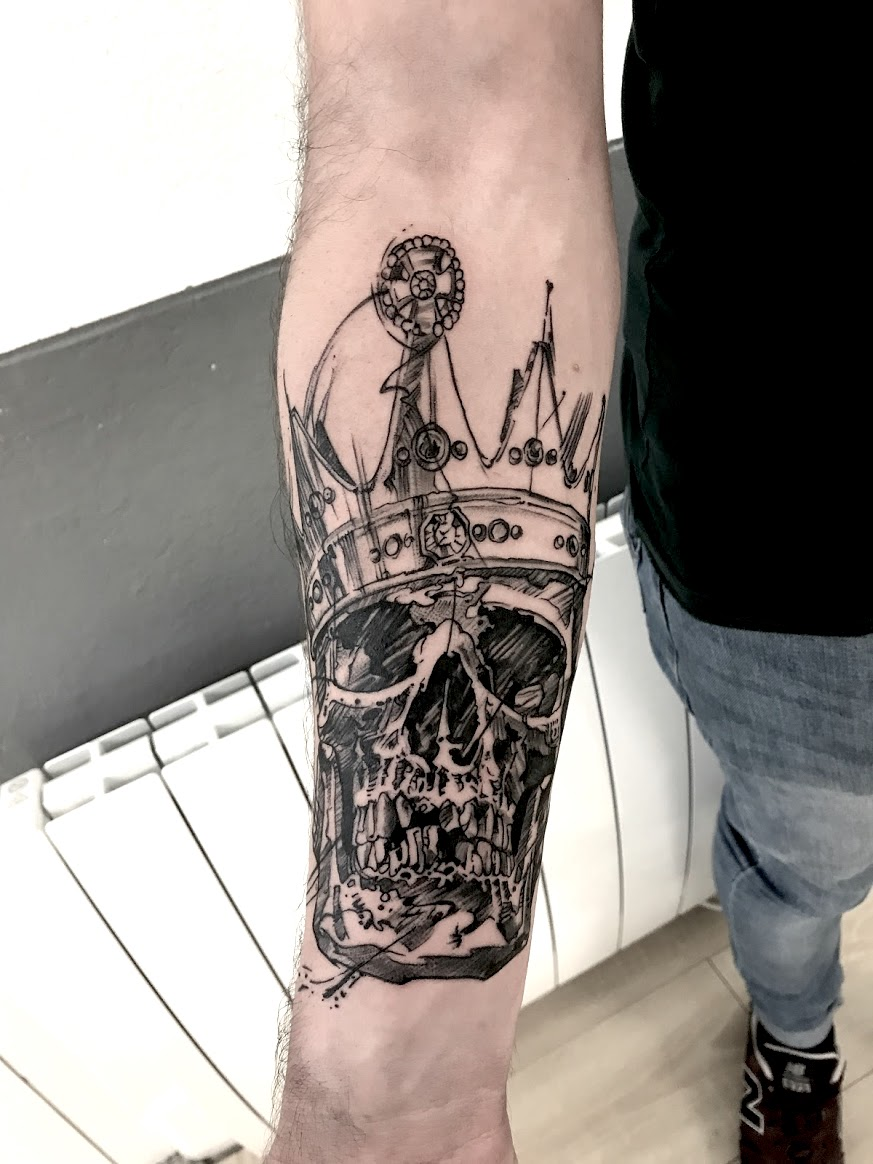 tattoo skull black corner tattoo