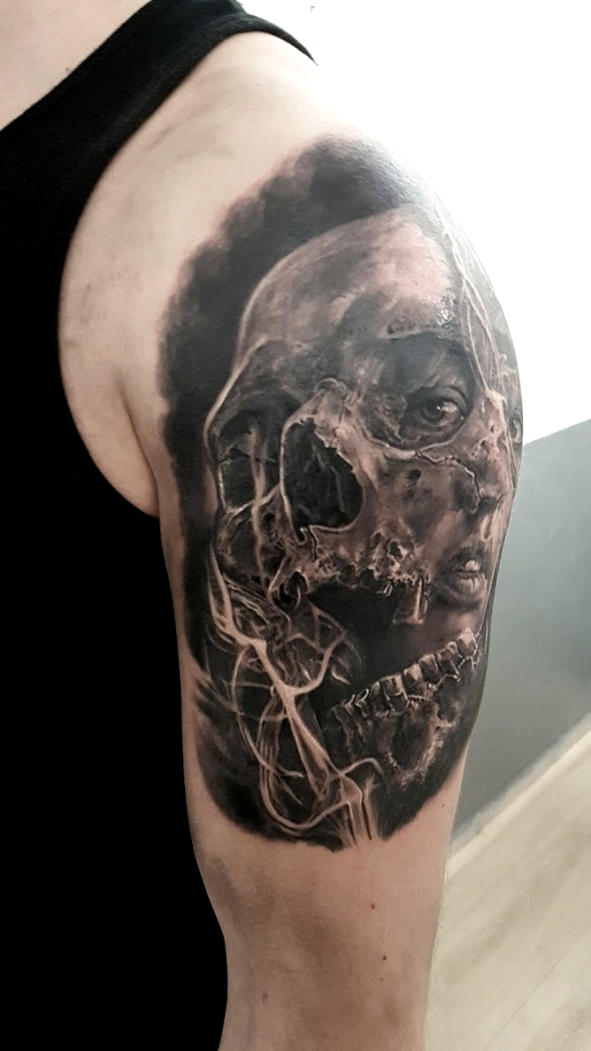 tatouage skull black corner tattoo