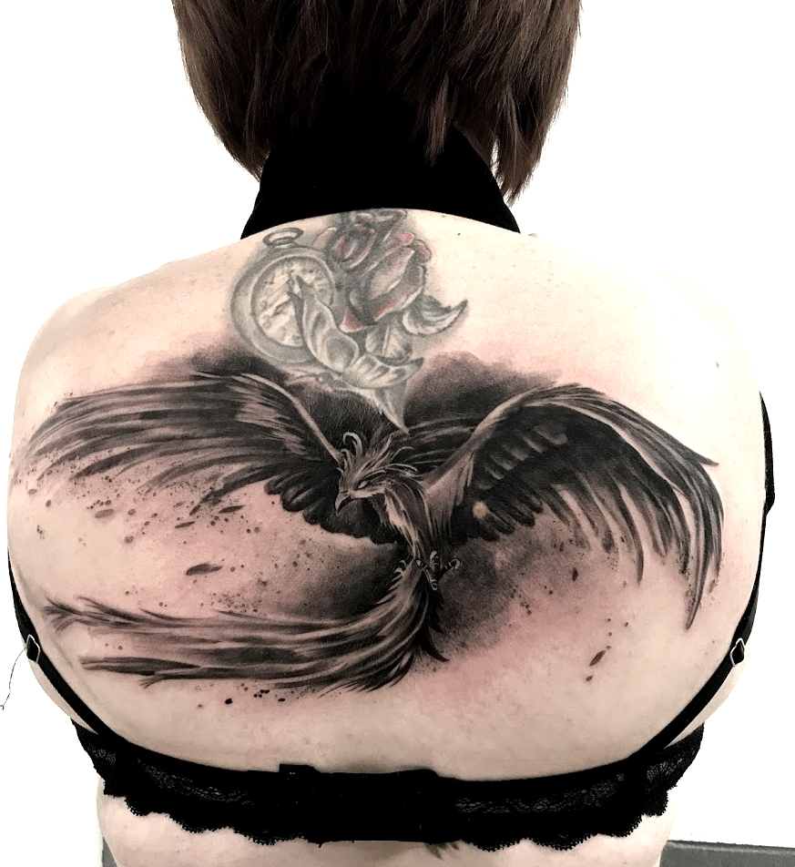 tattoo phenix black corner tattoo
