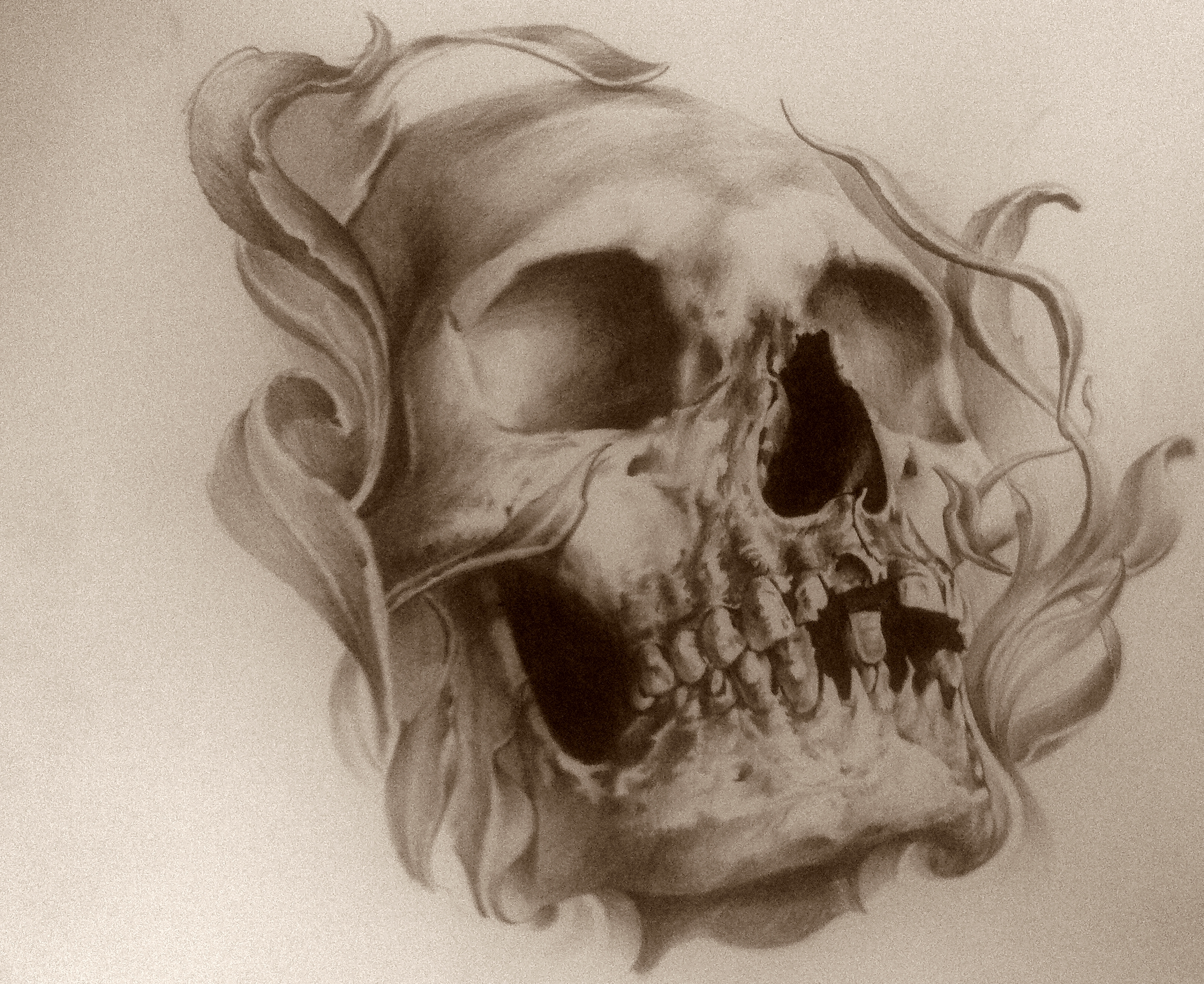 sketch skull black corner tattoo