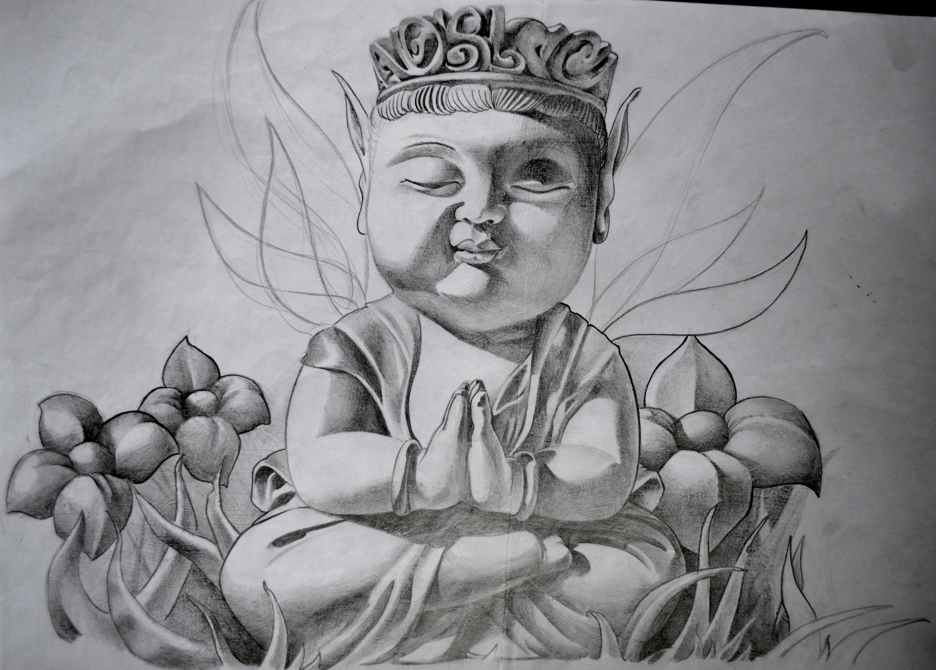 sketch bouddha black corner tattoo
