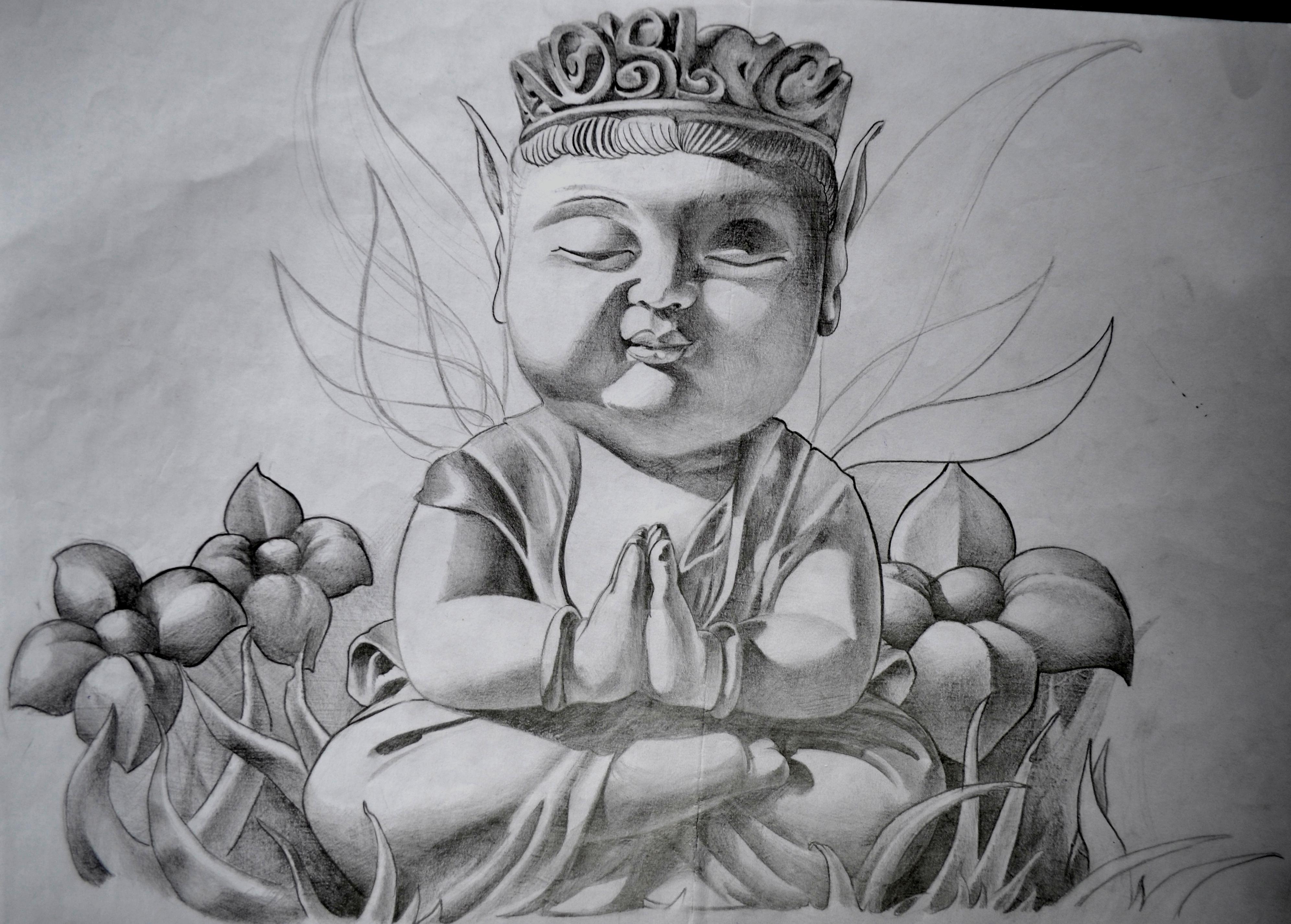 sketch bouddha black corner tattoo