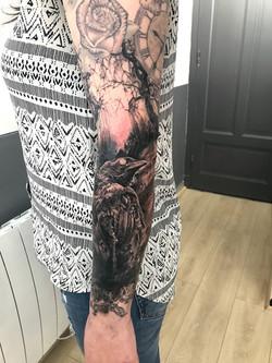 tattoo crow black corner tattoo