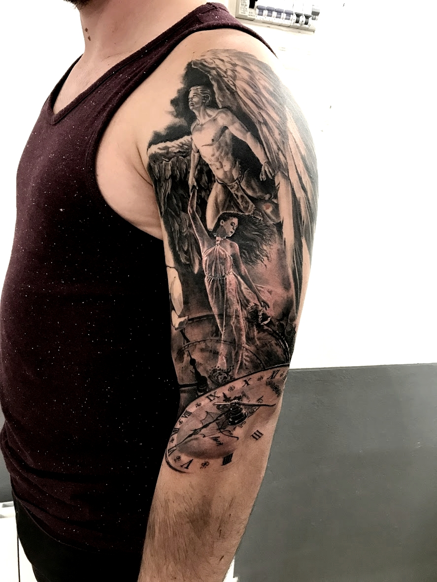 tattoo angel black corner tattoo