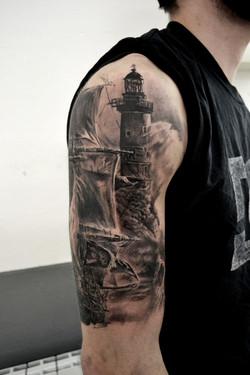tatouage phare black corner tattoo