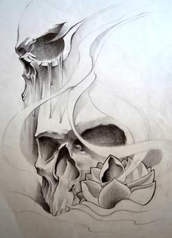 sketch crane black corner tattoo