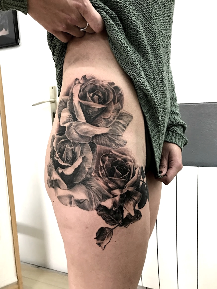 tattoo rose black corner tattoo