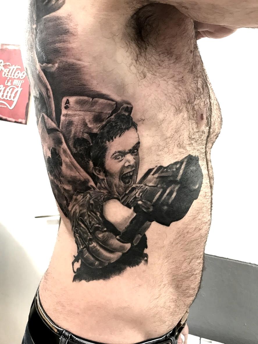 tattoo gun black corner tattoo