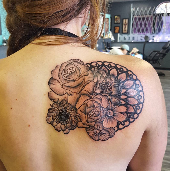 custom rose and mandala
