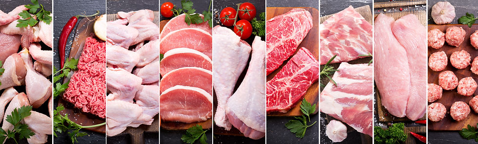 food collage of various fresh meat and c