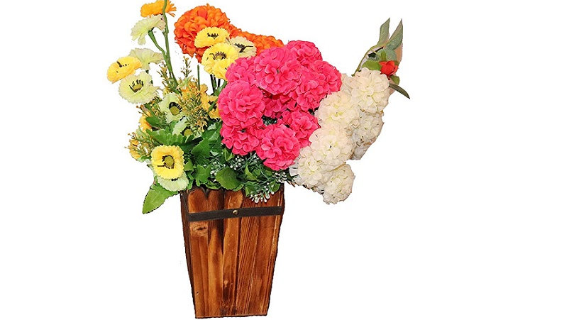 Wooden Flower Pot with Artificial Flowers- Home Decoration