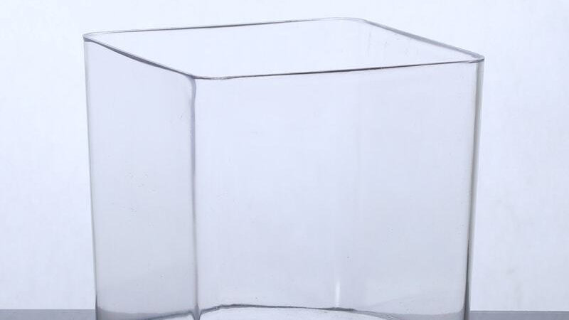 Modern Glass Vase with Square Shape - Transparent Color