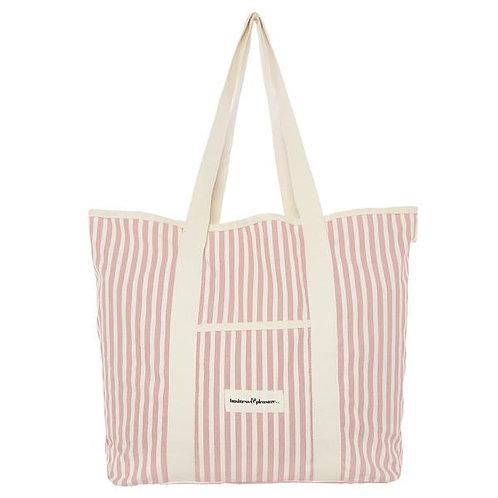 Pink Stripe Beach Bag - Business and Pleasure
