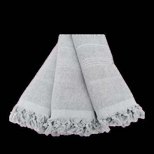 light grey terry tassel towel