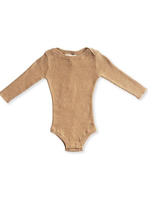 Ribbed essential bodysuit - Almond Marle