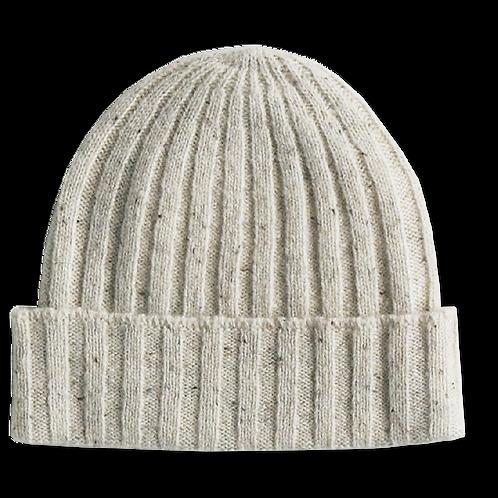 Speckled merino ribbed beanie - Snow