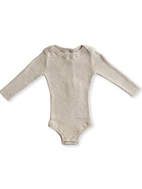 Ribbed essential bodysuit - Oat Marle