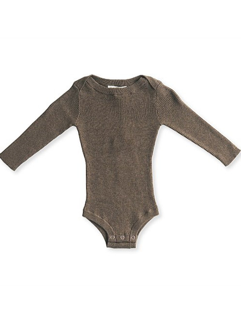 Ribbed essential bodysuit - Cocoa Marle