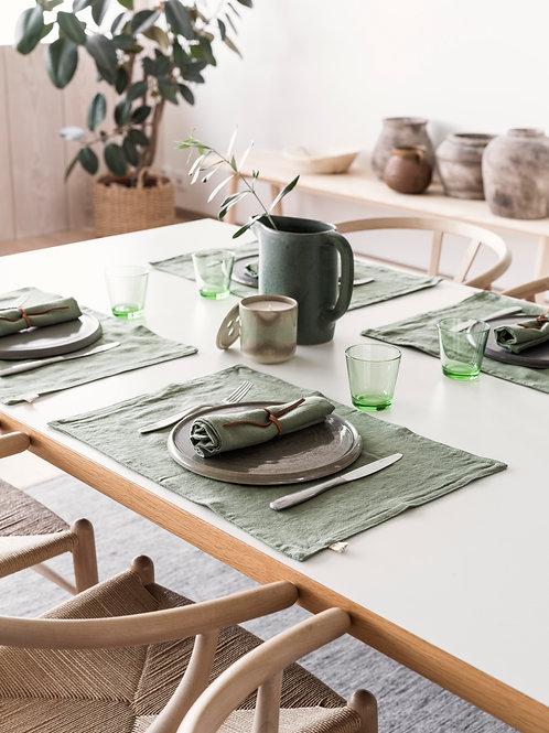 Psyrri Linen Placemats, set of 2, Olive Green