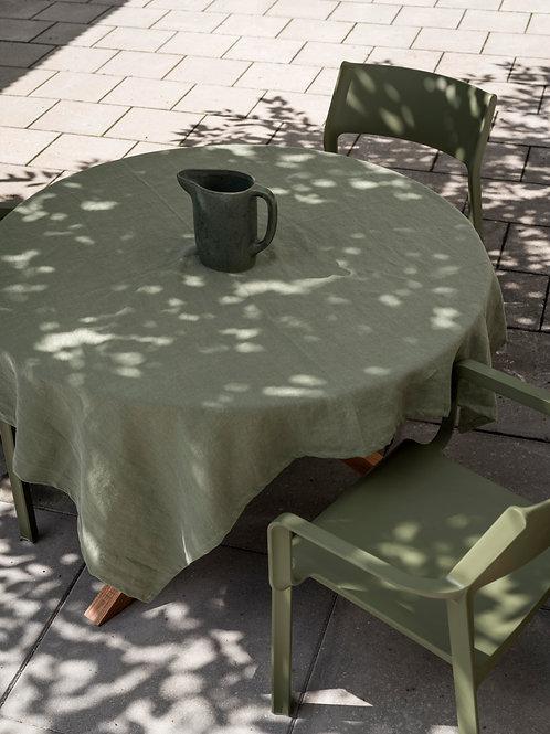 Psyrri Linen Tablecloth 143 x 143 cm, Olive Green