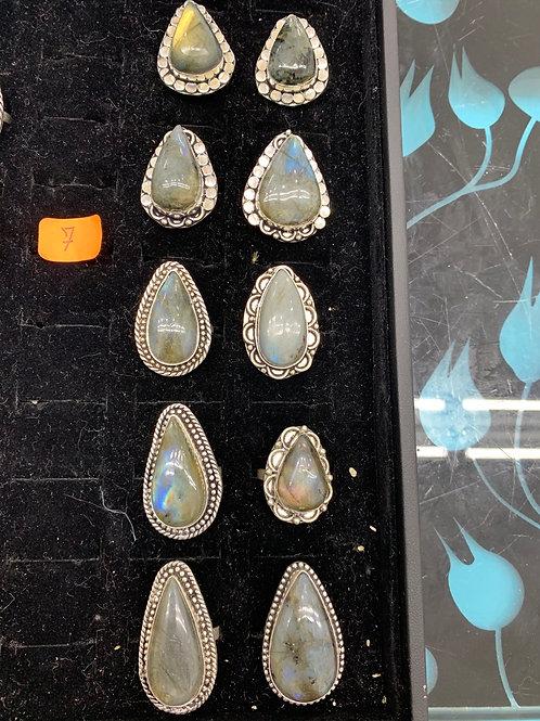 Labradorite Rings - Tear Drop Shape - Size 7
