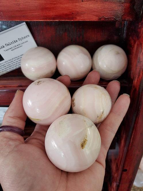 Pink Mangano Calcite Spheres
