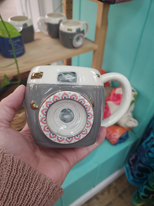 """Be in the moment"" camera mug"