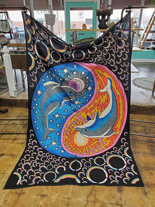 Dolphins Yin Yang Tapestry