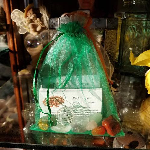 Bag of chakra crystals