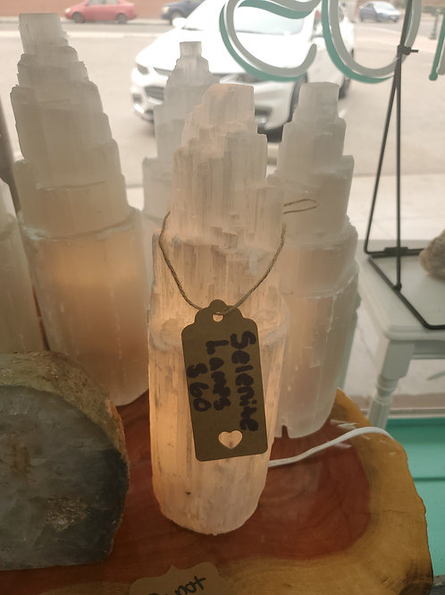 Selenite Lamp Large