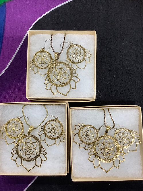 Flower of Life Lotus Necklace Earring Set