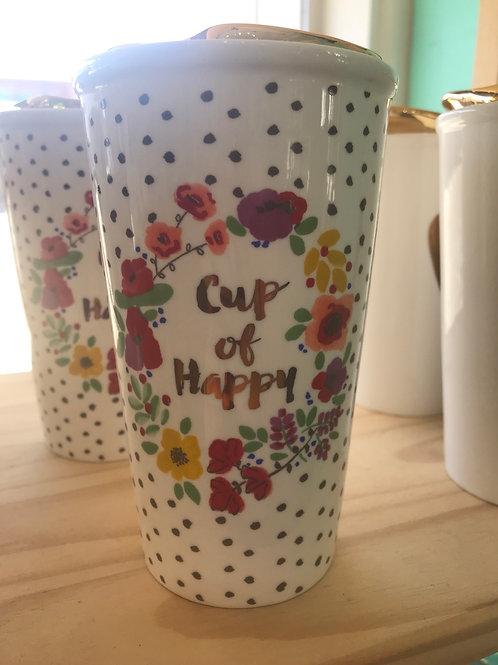 Natural Life Cup of Happy Ceramic Travel mug