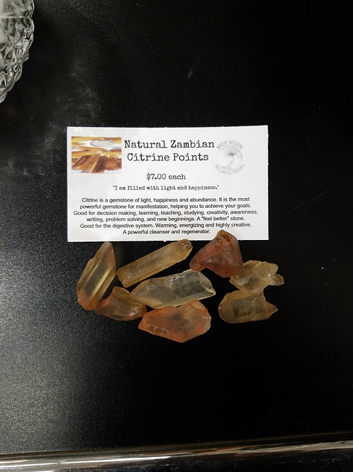 Natural Zembian Citrine Points