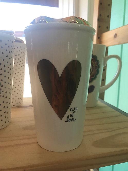 Natural Life Cup Of Love Ceramic Travel Mug