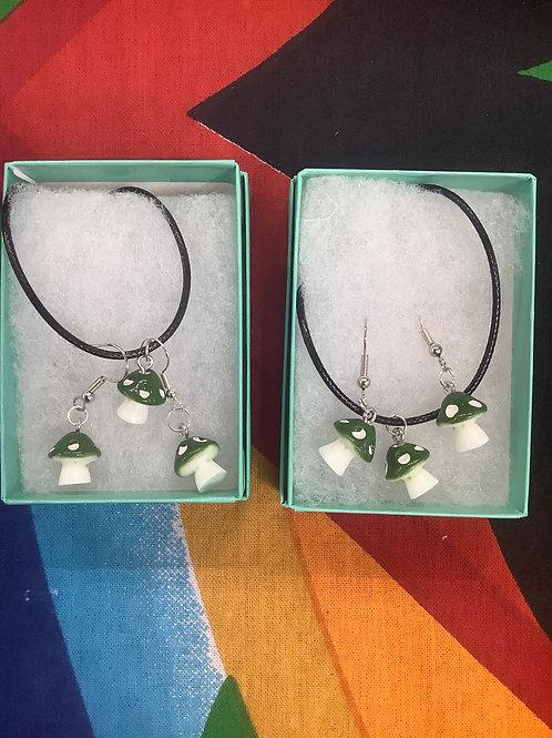 Mushroom Necklace Earring Set