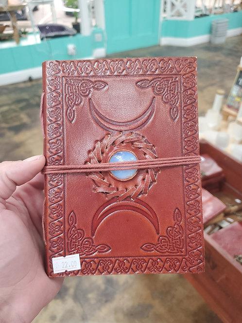 Triple moon leather journal Opalite
