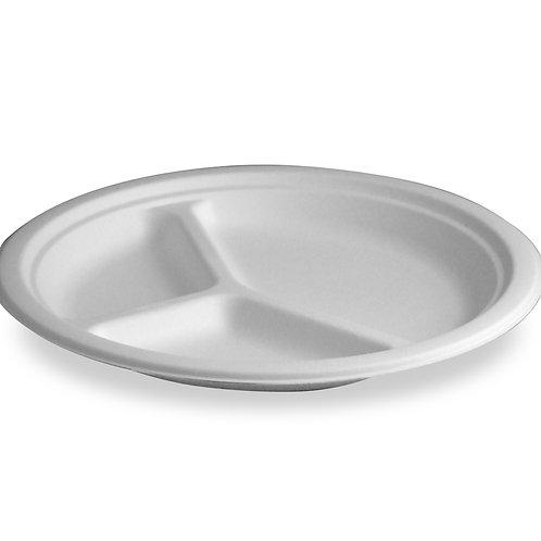 "Sugarcane Fiber  10"" 3-Compartment  Tableware Plate"