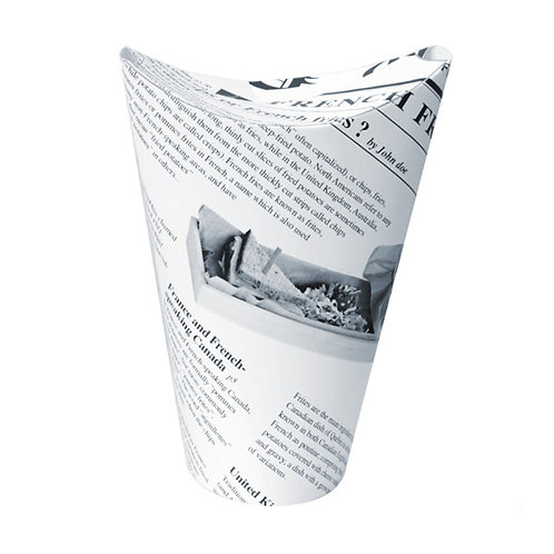 """""""Happy Fries"""" News Print Closable Perforated Snack Cups"""