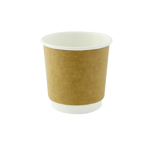 Natural Double Wall Kraft Compostable Paper Cup - 4oz
